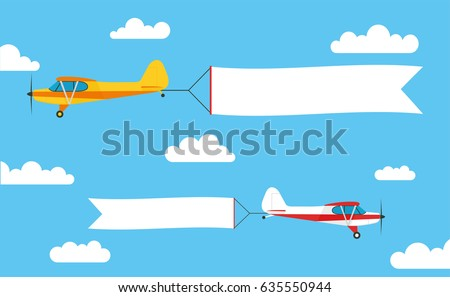 Flying advertising banner, pulled by light aircraft with - stock vector.