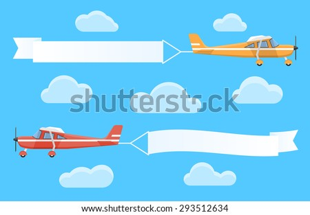 Flying advertising banners pulled by light planes