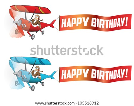 Flying aircraft with happy birthday banner