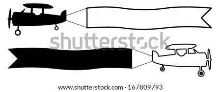 Flying Airplane And Banner Isolated On White Stock Vector ...