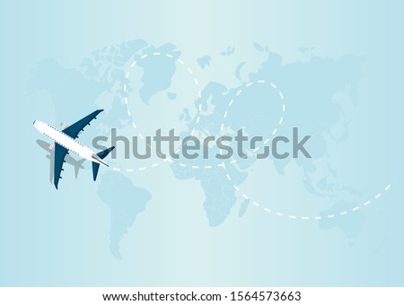 Flying airplane express delivery shipping concept. Vector Illustration  Stock fotó ©