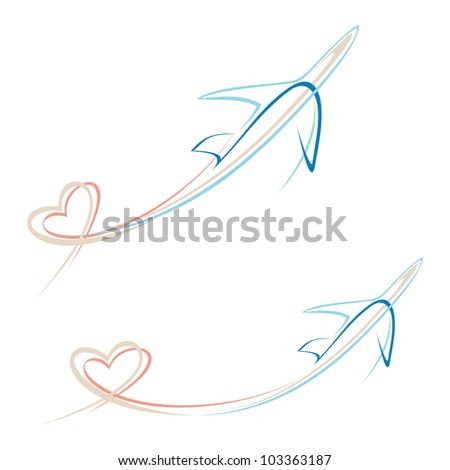 Flying airplane with heart shape trace - stylized vector illustration. Isolated icon on white background. Line art design element. Airliner.