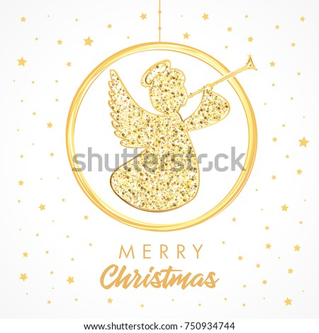 flying angel with trumpet on a