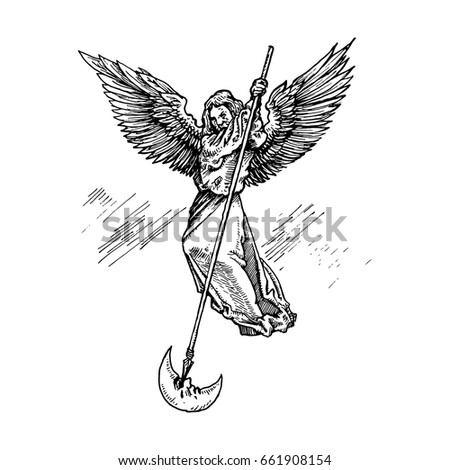 flying angel with wings beats a