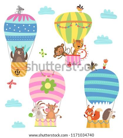 flying animals cute illustration