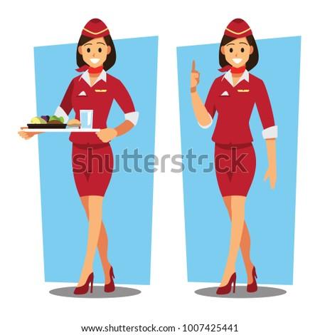 flying attendants  ,air hostess  , Vector illustration cartoon character