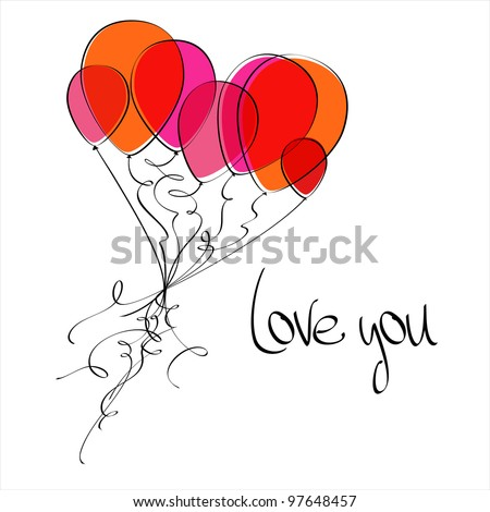 Flying balloons in the shape of a heart. Love you. EPS8