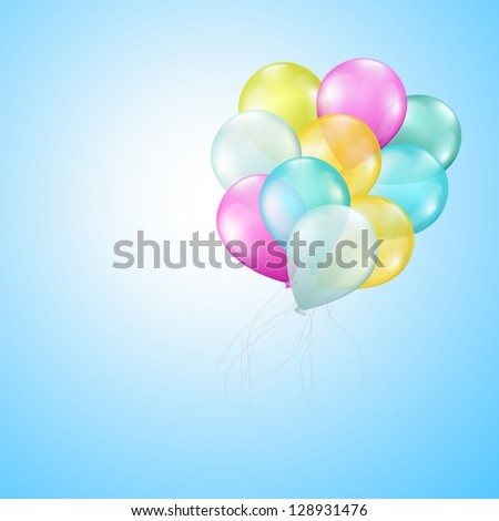 flying balloons on blue background