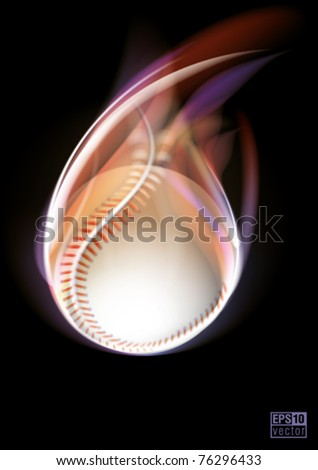 Flying baseball ball on black background, eps10 vector - stock vector
