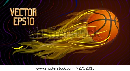 Flying basketball ball in flames, vector illustration