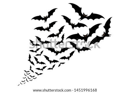 flying bats silhouettes. flock of bats - Halloween vector illustration Сток-фото ©