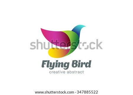flying bird abstract logo