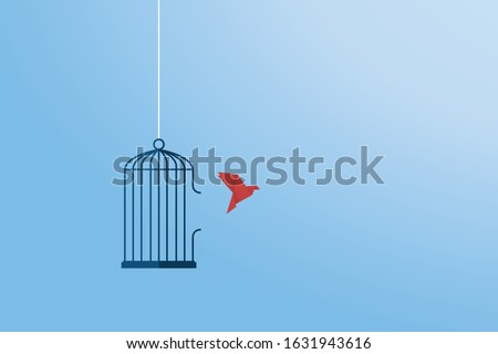 flying bird and cage freedom