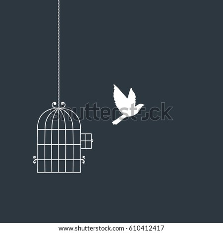 flying bird and cage