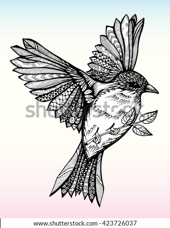 Flying bird with spread wings. Stilizovannvya bird. Sparrow. Line art. Black and white drawing by hand. Decorative. Tattoo. International Day of Peace with a dove carrying an olive branch.