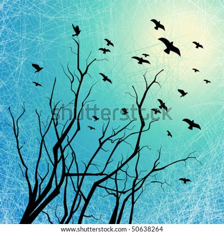 Flying birds and tree branches silhouettes on grunge background with scratch texture