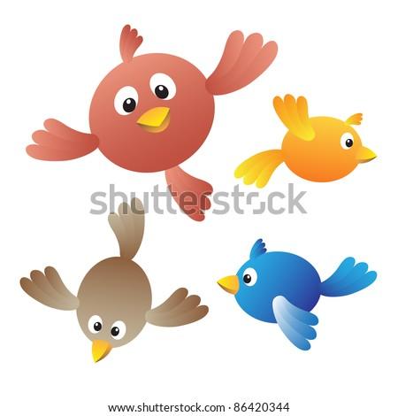 Flying birds on white background