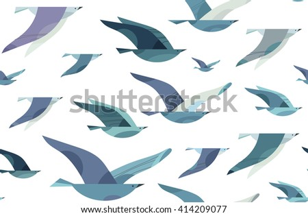 flying birds seamless pattern