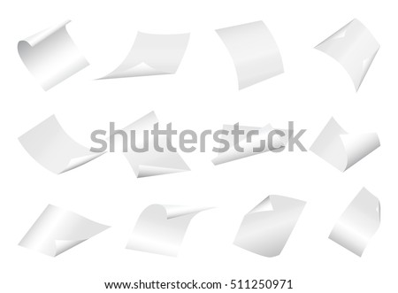 flying blank paper sheets with...