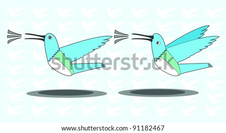 flying blue bird singing vector