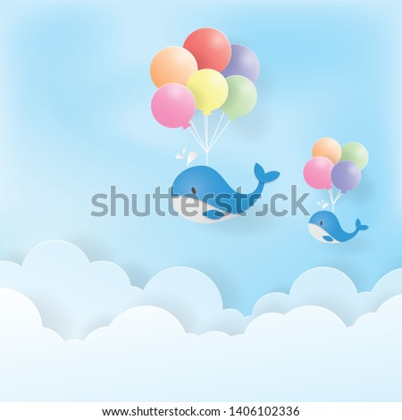 Flying blue whale with colorful balloons, Paper art, Paper cut, Craft vector, design