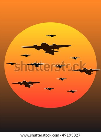 flying bombers at sunset