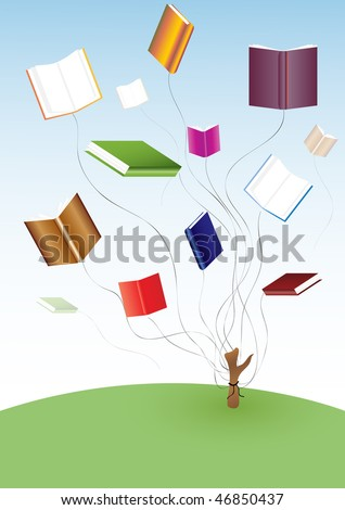 Flying books. vector.