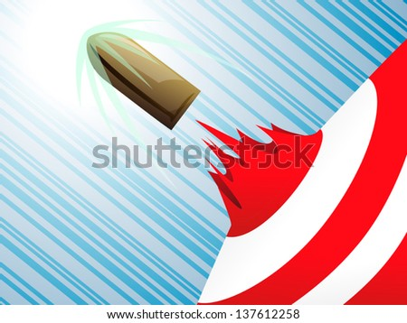 Flying bullet through middle of target