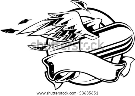Flying bullet with wings and ribbon. Vector illustration black and white. - stock vector