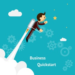 Flying Businessman Cartoon Graphic Design for Business Growth and Start up  Isolated on Blue Green Background.