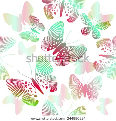 flying butterflies on a white