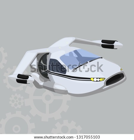 flying car vector icon on a