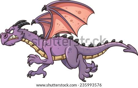 flying cartoon dragon vector