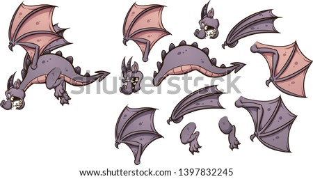 Flying cartoon dragon with different parts ready for animation clip art. Vector illustration with simple gradients. Some elements on separate layers.  