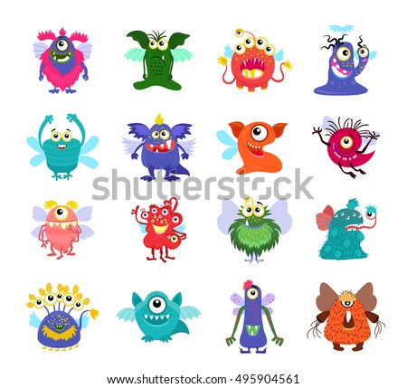flying cartoon monsters vector