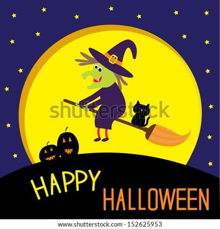 flying cartoon witch and cat big moon happy halloween card vector illustration - Happy Halloween Cartoon Pics