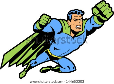 flying classic retro superhero