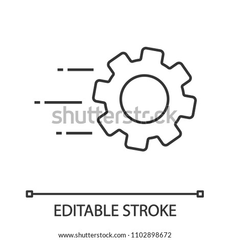 Flying cogwheel linear icon. Technological progress. Thin line illustration. Gear. Engineering services. Contour symbol. Vector isolated outline drawing. Editable stroke