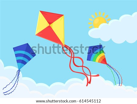 flying colorful kite in the