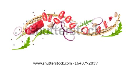 Flying composition of red hot chili peppers, arugula, red onion, vegetable oil, pepper and salt. Recipe pickled pepper. Vector realistic illustration isolated on white background.