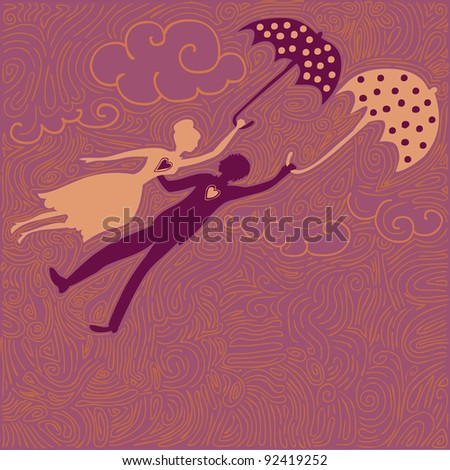 flying couple in love, holding umbrellas