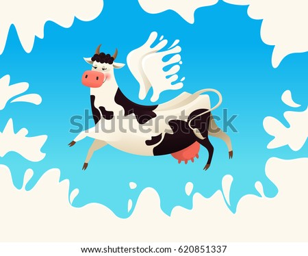 Great Flying Cow With Wings From Milk. Vector Illustration.