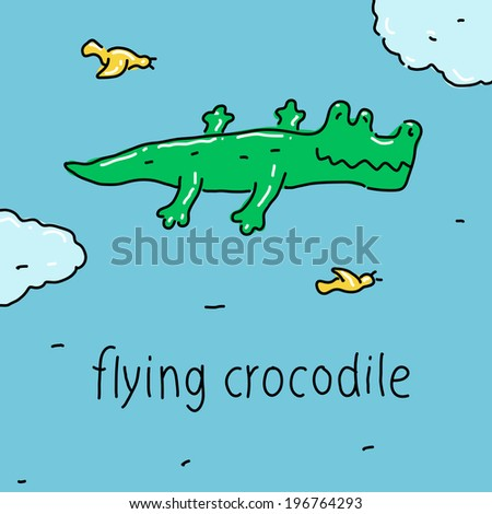 Flying Crocodile symbol of strong imagination.