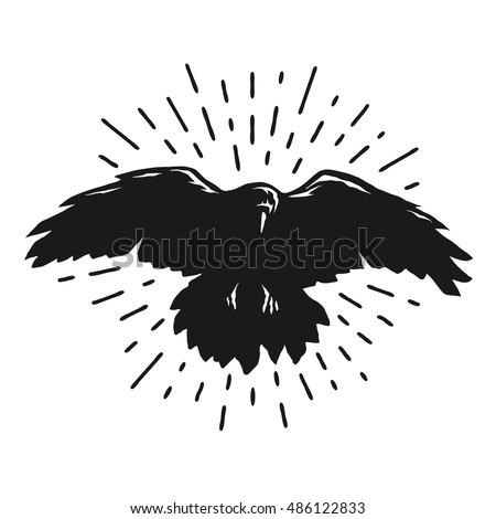 flying crow silhouette sign