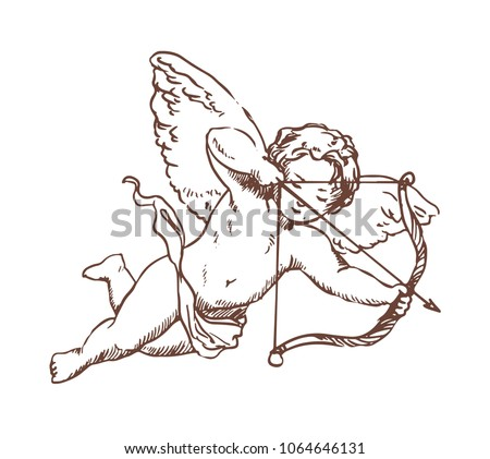 Flying Cupid holding bow and aiming or shooting arrow hand drawn with contour lines on white background. God of love, Amor, Eros or mythological character with wings. Monochrome vector illustration. Foto d'archivio ©