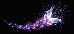 Flying delightful butterfly with sparkle and blazing trail flying in night sky among shiny glowing stars in cosmic space. Animal protection day concept.