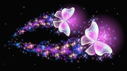 Flying delightful magical butterflies with sparkle and blazing trail flying in night sky among shiny glowing stars in cosmic space. Love and romance concept.