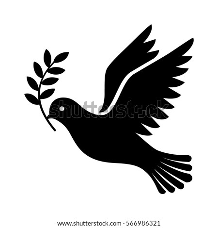 flying dove holding an olive