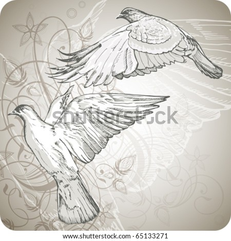 flying doves on the background of stylized ornament