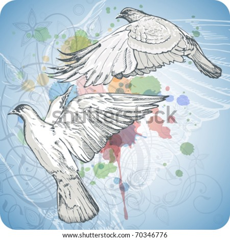 Flying doves on the color paint background of stylized ornament &  orchid flowers